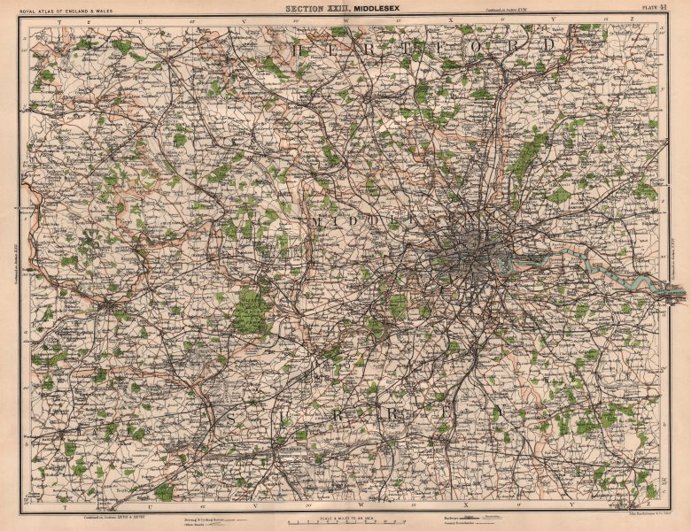 Associate Product LONDON ENVIRONS, CHILTERNS & THAMES VALLEY. Home counties. Surrey Hills 1898 map