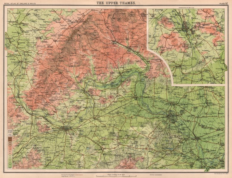 Associate Product THAMES VALLEY. Chiltern Hills Henley Reading Windsor Staines Oxford 1898 map
