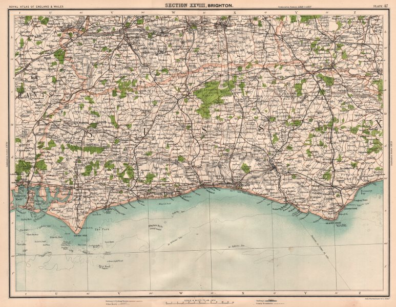 Associate Product SOUTH DOWNS. Brighton Sussex Chichester Havant Guildford Reigate Lewes 1898 map