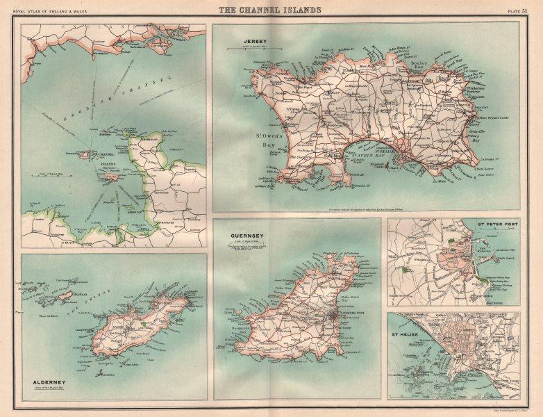 Associate Product CHANNEL ISLANDS. Jersey Alderney Guernsey St. Peter Port St. Helier 1898 map