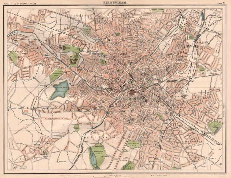 Associate Product BIRMINGHAM antique town city plan. BARTHOLOMEW 1898 old map chart