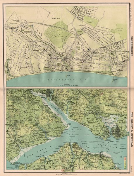 Associate Product BOURNEMOUTH antique town city plan. The Solent & Spithead. BARTHOLOMEW 1898 map