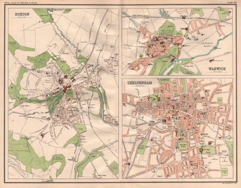 Associate Product BUXTON, WARWICK & CHELTENHAM antique town city plans. BARTHOLOMEW 1898 old map