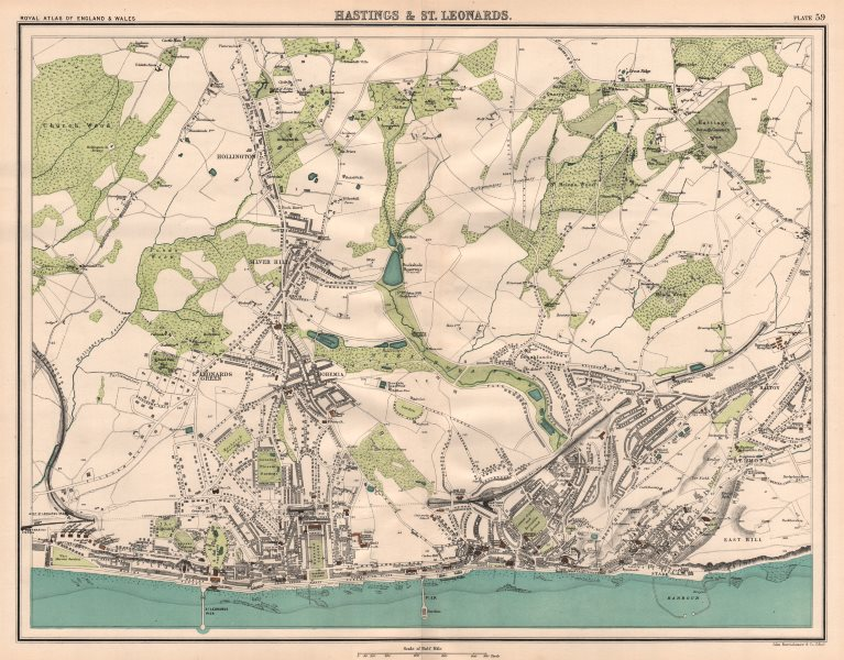 Associate Product HASTINGS & ST. LEONARDS antique town city plans. BARTHOLOMEW 1898 old map