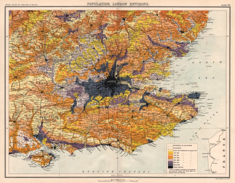 Associate Product HOME COUNTIES & LONDON population density. BARTHOLOMEW 1898 old antique map