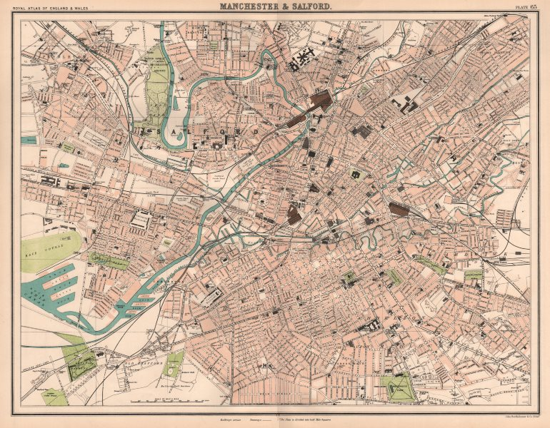 Associate Product MANCHESTER & SALFORD antique town city plans. BARTHOLOMEW 1898 old map