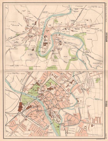Associate Product DURHAM & YORK antique town city plans. BARTHOLOMEW 1898 old map chart