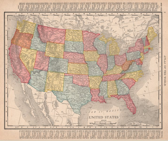 Associate Product United States. USA. RAND MCNALLY 1912 old antique vintage map plan chart