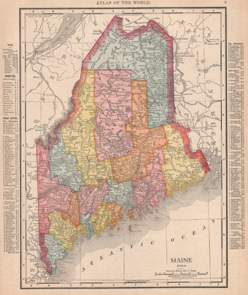 Associate Product Maine state map showing counties. RAND MCNALLY 1912 old antique plan chart
