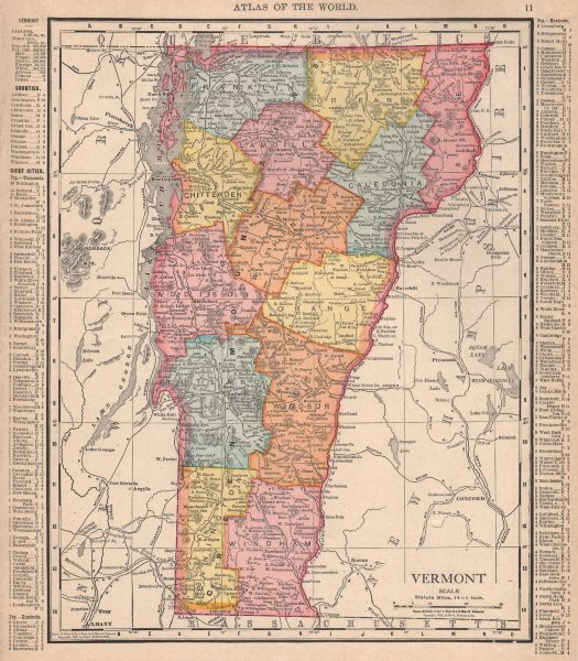 Details about Vermont state map showing counties. RAND MCNALLY 1912 old  antique chart