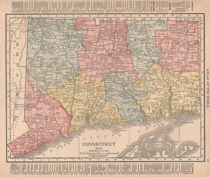 Associate Product Connecticut state map showing counties. RAND MCNALLY 1912 old antique