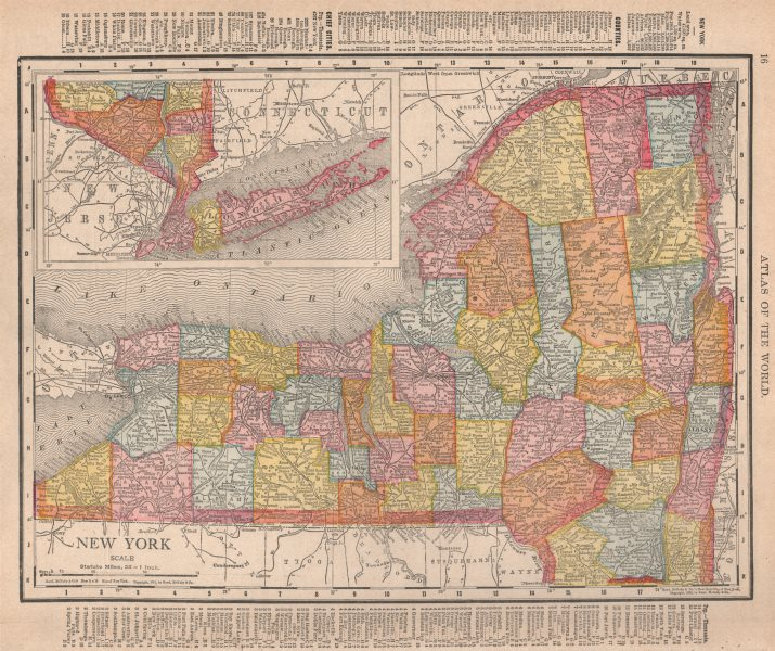 Associate Product New York state map showing counties. RAND MCNALLY 1912 old antique chart
