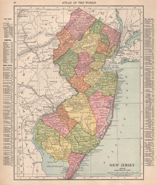 Associate Product New Jersey state map showing counties. RAND MCNALLY 1912 old antique chart