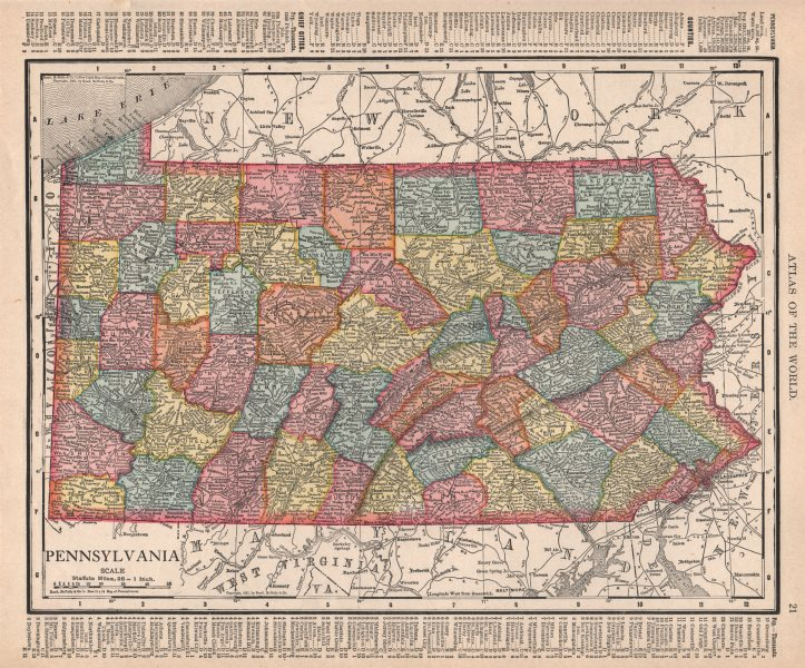 Associate Product Pennsylvania state map showing counties. RAND MCNALLY 1912 old antique