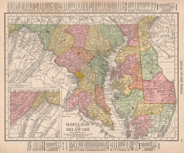 Associate Product Maryland and Delaware state map showing counties. RAND MCNALLY 1912 old