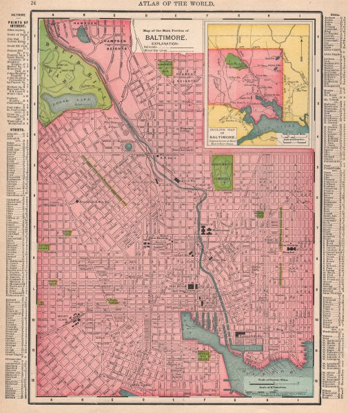 Associate Product Baltimore town city map plan. Maryland. RAND MCNALLY 1912 old antique