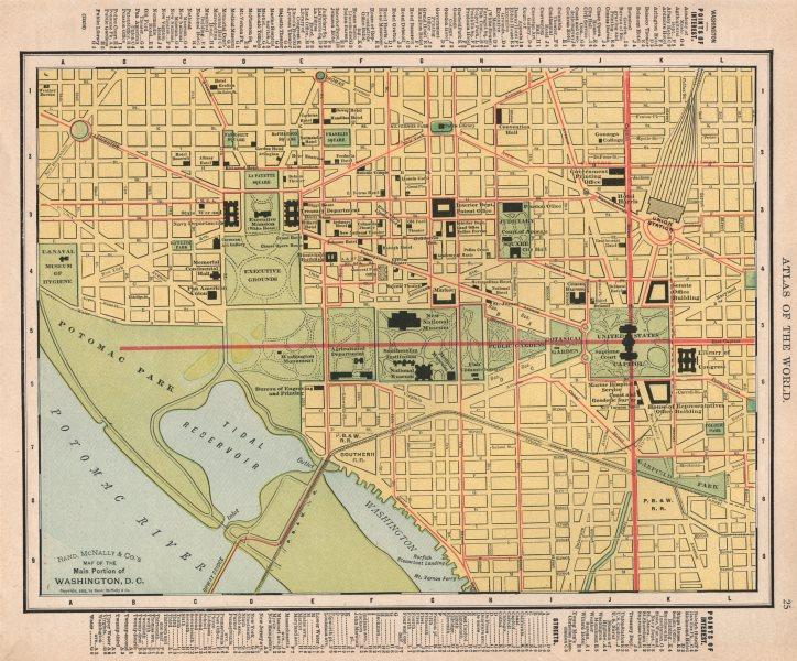 Associate Product Washington D.C. town city map plan. Washington DC. RAND MCNALLY 1912 old