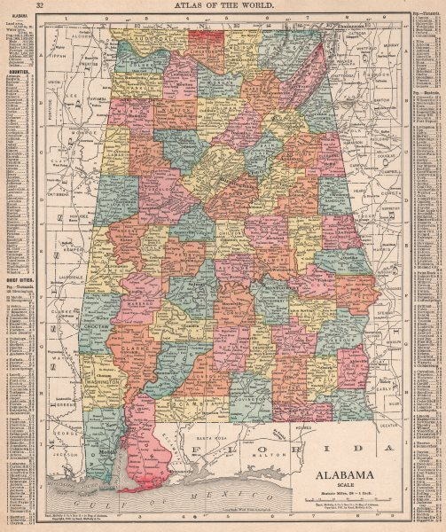 Associate Product Alabama state map showing counties. RAND MCNALLY 1912 old antique chart