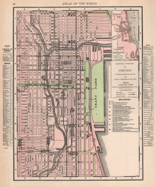 Associate Product Chicago Loop downtown town city map plan. Illinois. RAND MCNALLY 1912 old