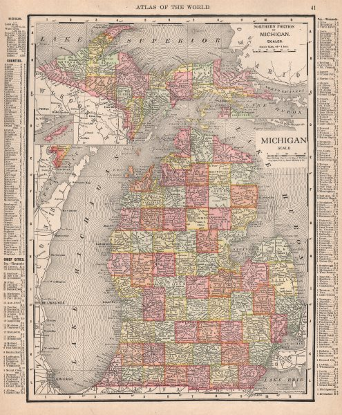 Associate Product Michigan state map showing counties. RAND MCNALLY 1912 old antique chart