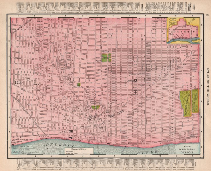 Associate Product Detroit town city map plan. Michigan. RAND MCNALLY 1912 old antique chart