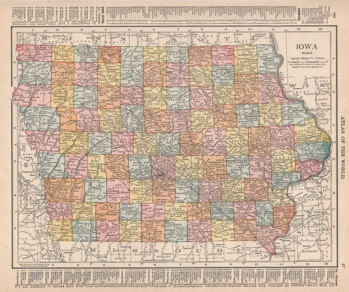 Associate Product Iowa state map showing counties. RAND MCNALLY 1912 old antique plan chart