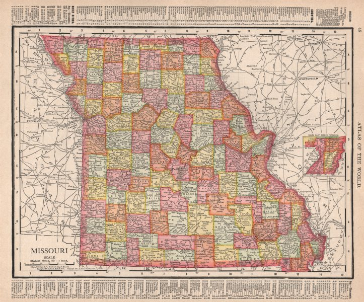 Associate Product Missouri state map showing counties. RAND MCNALLY 1912 old antique chart