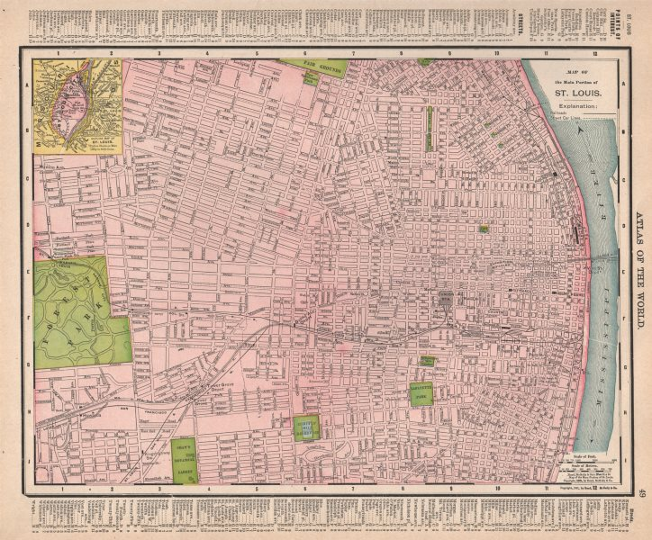 Associate Product St. Louis town city map plan. Missouri. RAND MCNALLY 1912 old antique