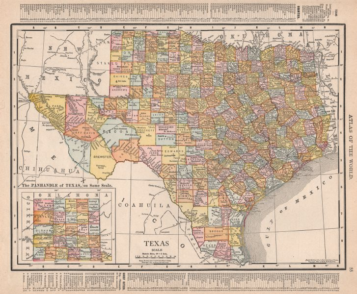Associate Product Texas state map showing counties. RAND MCNALLY 1912 old antique plan chart