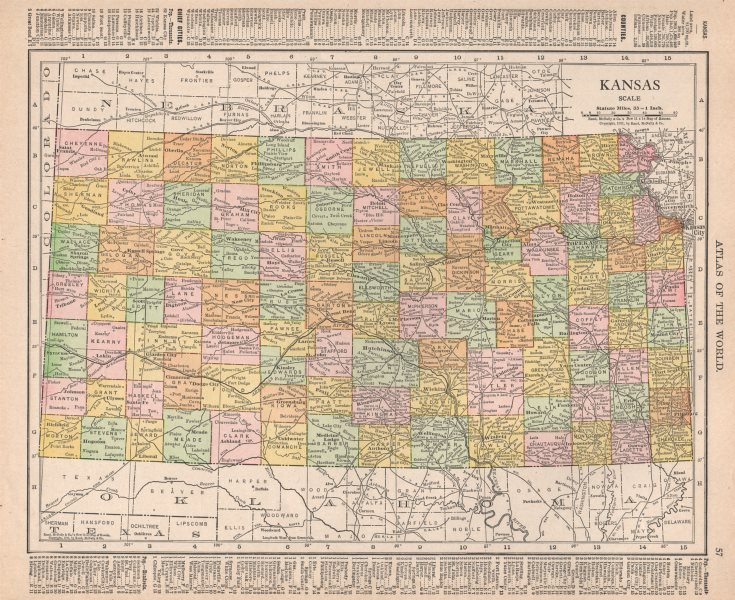 Associate Product Kansas state map showing counties. RAND MCNALLY 1912 old antique chart