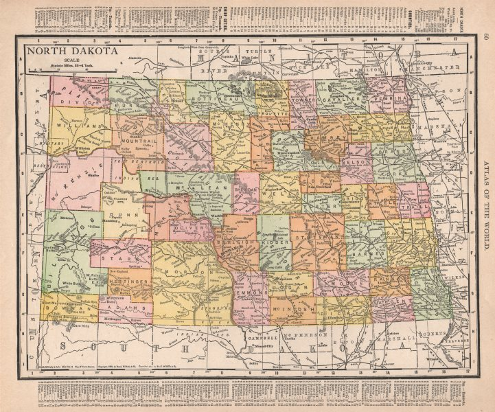Associate Product North Dakota state map showing counties. RAND MCNALLY 1912 old antique