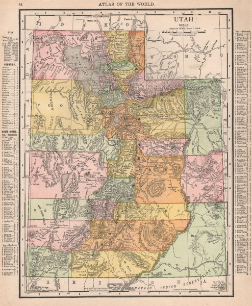 Associate Product Utah state map showing counties. RAND MCNALLY 1912 old antique plan chart