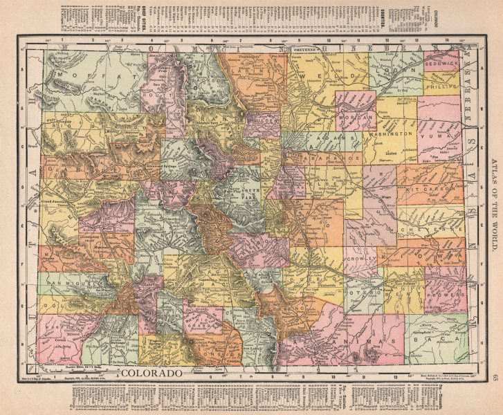 Associate Product Colorado state map showing counties. RAND MCNALLY 1912 old antique chart