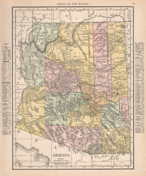 Details about Arizona state map showing counties. RAND MCNALLY 1912 old  antique chart