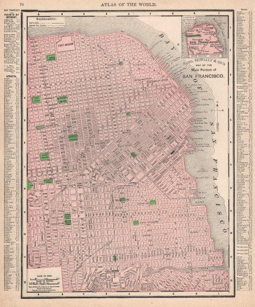 Associate Product San Francisco city map plan. Street car lines. California. RAND MCNALLY 1912