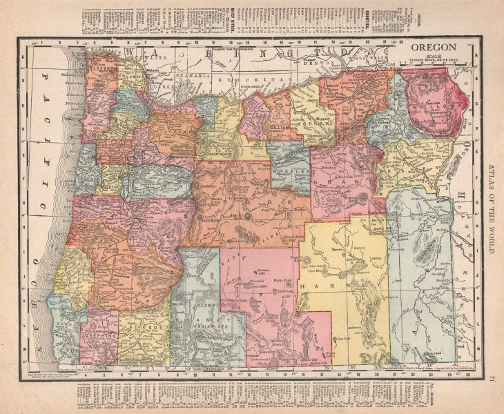 Associate Product Oregon state map showing counties. RAND MCNALLY 1912 old antique chart