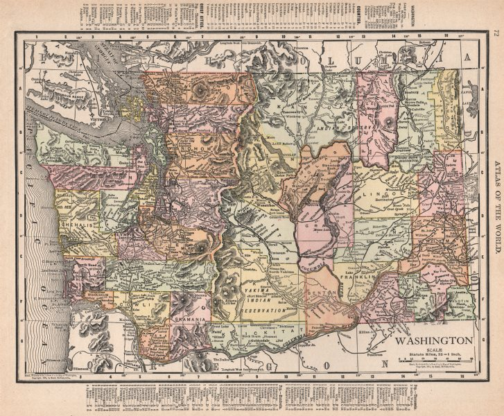 Associate Product Washington State state map showing counties. RAND MCNALLY 1912 old antique