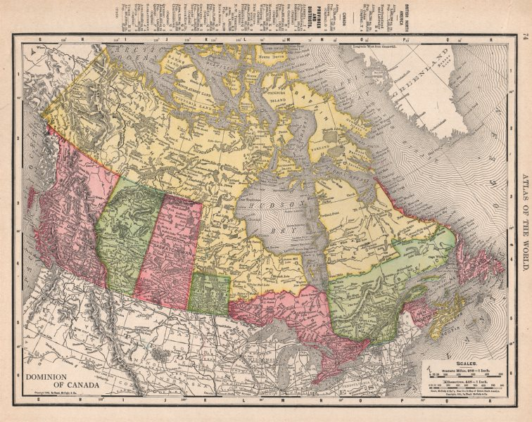 Associate Product Dominion of Canada. Manitoba pre-1912 expansion. RAND MCNALLY 1912 old map
