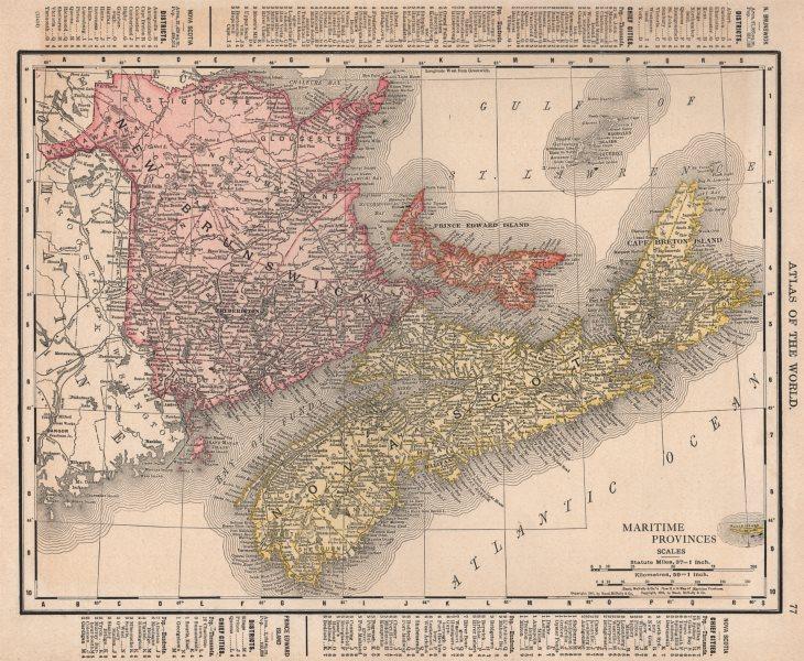 Associate Product Maritime Provinces. Nova Scotia PEI New Brunswick. Canada. RAND MCNALLY 1912 map