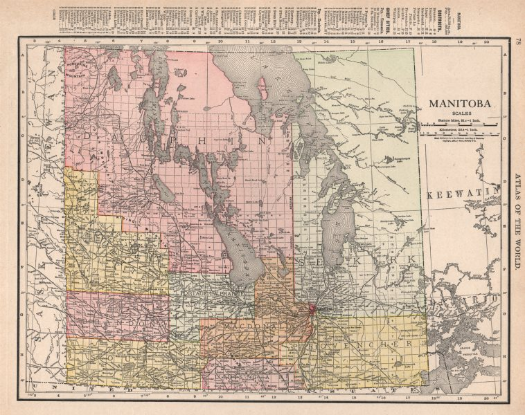 Associate Product Manitoba. Borders pre 1912 expansion. Canada. RAND MCNALLY 1912 old map