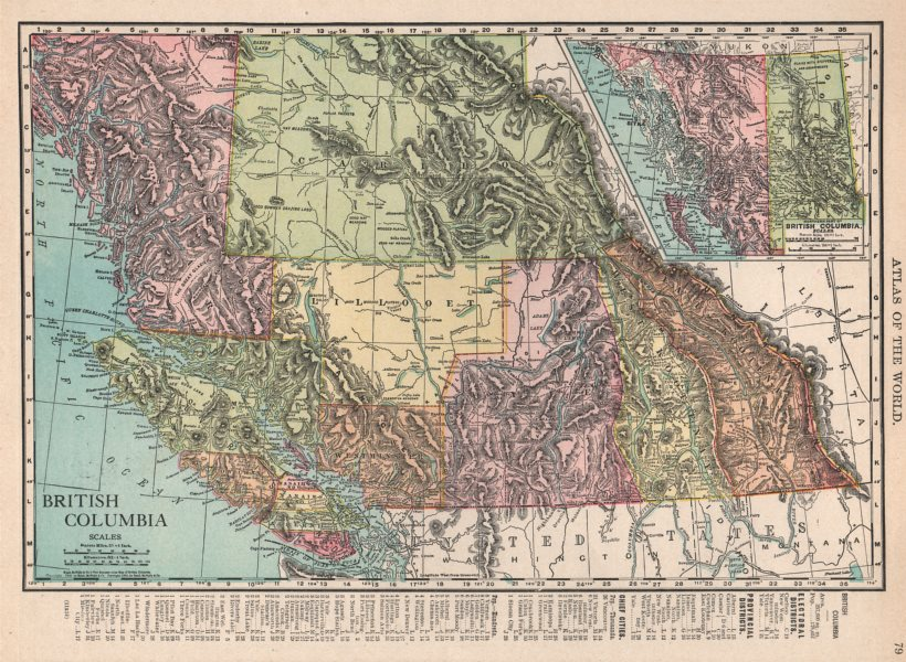 Associate Product British Columbia. Canada. RAND MCNALLY 1912 old antique vintage map plan chart