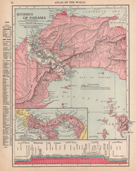 Associate Product PANAMA. Isthmus, Republic, Canal zone & profile. RAND MCNALLY 1912 old map