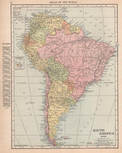 Associate Product SOUTH AMERICA. Paraguay-Bolivia border pre Chaco War. RAND MCNALLY 1912 map