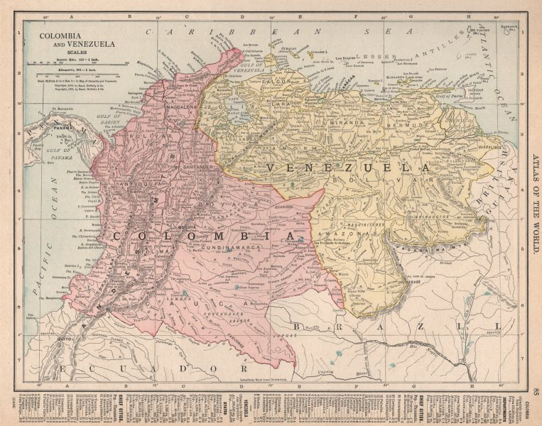 Associate Product Colombia and Venezuela. Andean States. RAND MCNALLY 1912 old antique map chart
