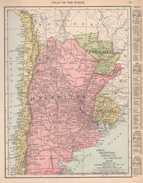 Associate Product Chile, Argentina, Paraguay and Uruguay. South America. RAND MCNALLY 1912 map