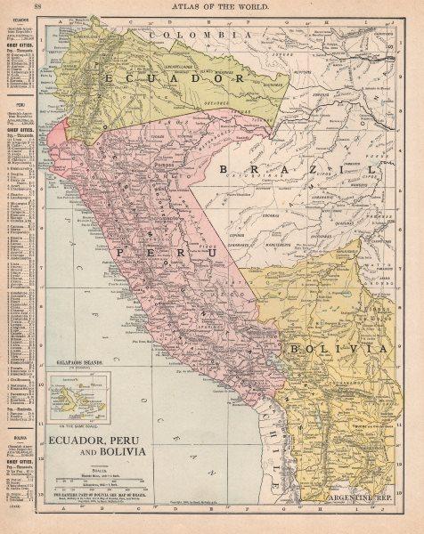 Associate Product ECUADOR PERU BOLIVIA. Border pre Guerra del 41 war. RAND MCNALLY 1912 old map