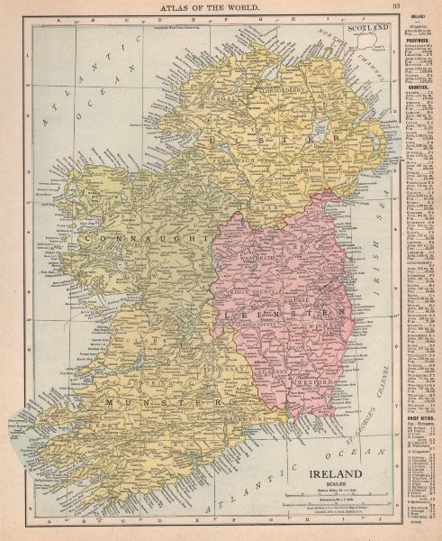 Associate Product Ireland in provinces. Munster Leinster Connaught Ulster. RAND MCNALLY 1912 map
