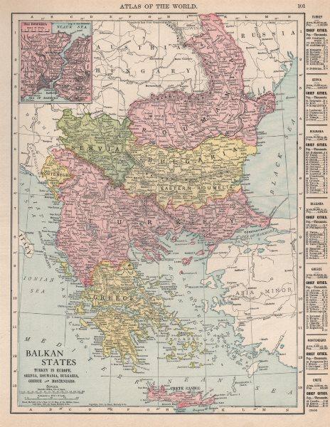 Associate Product BALKANS Turkey Servia Roumania Bulgaria Greece Montenegro. RAND MCNALLY 1912 map