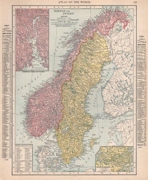 Associate Product Norway & Sweden. Kristianafjord. Stockholm. Scandinavia. RAND MCNALLY 1912 map