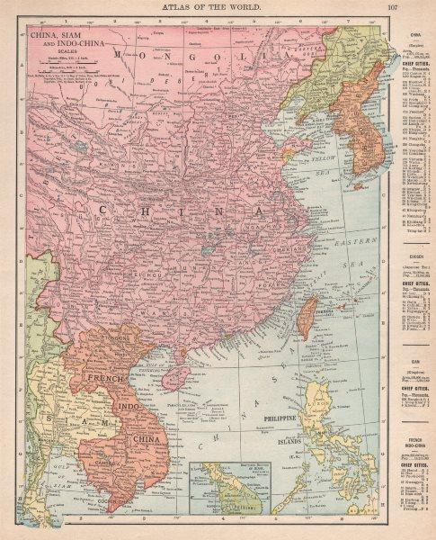 EAST ASIA. China, Siam, French Indo-China & Korea. RAND MCNALLY 1912 old map